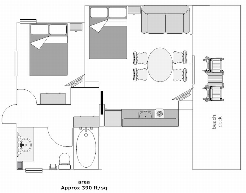 Floor Plan for Two Room Efficiency #1106, downstairs (no other rooms are laid out like this)
