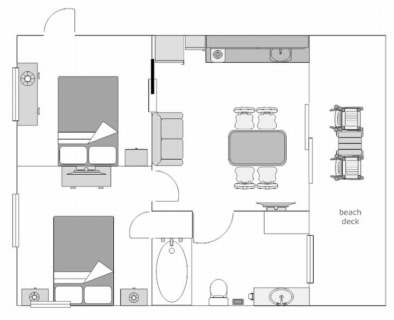 Floor Plan for Two Room Efficiency #1206, upstairs (no other rooms are laid out like this)