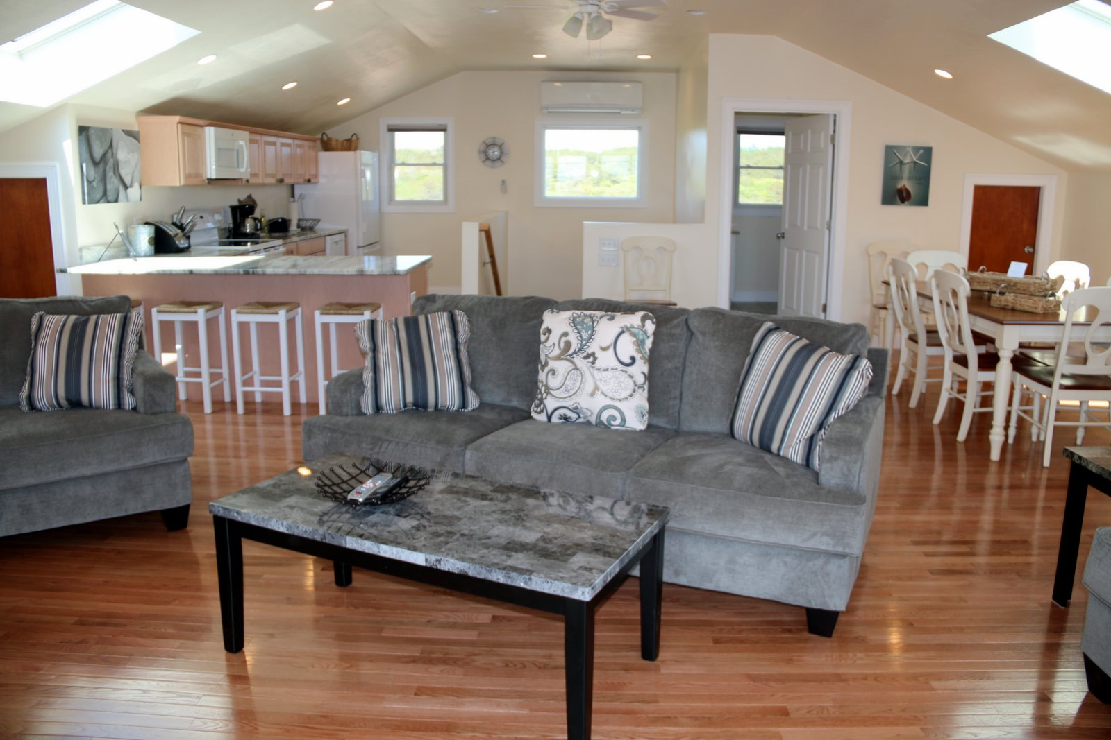 Upstairs Living, Kitchen and Dining of New Shore House